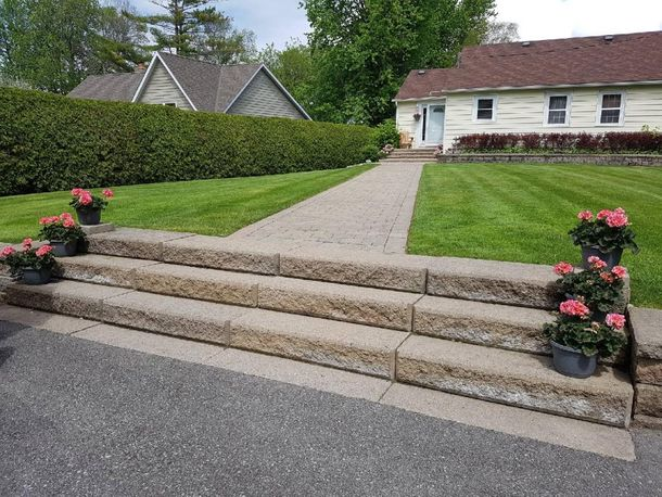 Hardscaping at edge of driveway